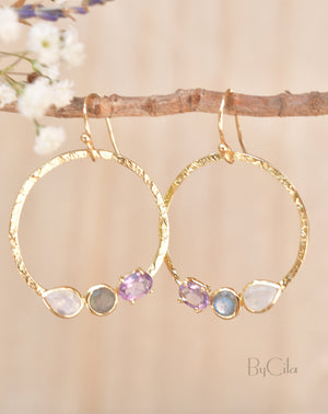 Rainbow Moonstone, Labradorite & Amethyst  Earrings Gold Plated* Geometric * Empty Circle * Handmade Gemstone * Dangle * Gold * BJE095