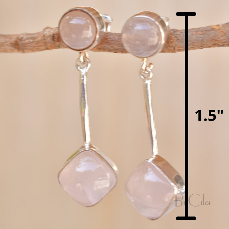 Rose Quartz Stud Earrings * Sterling Silver 925 * Post  *Handmade *Semi Precious Stone * Gift *January Birthstone*  BJE152