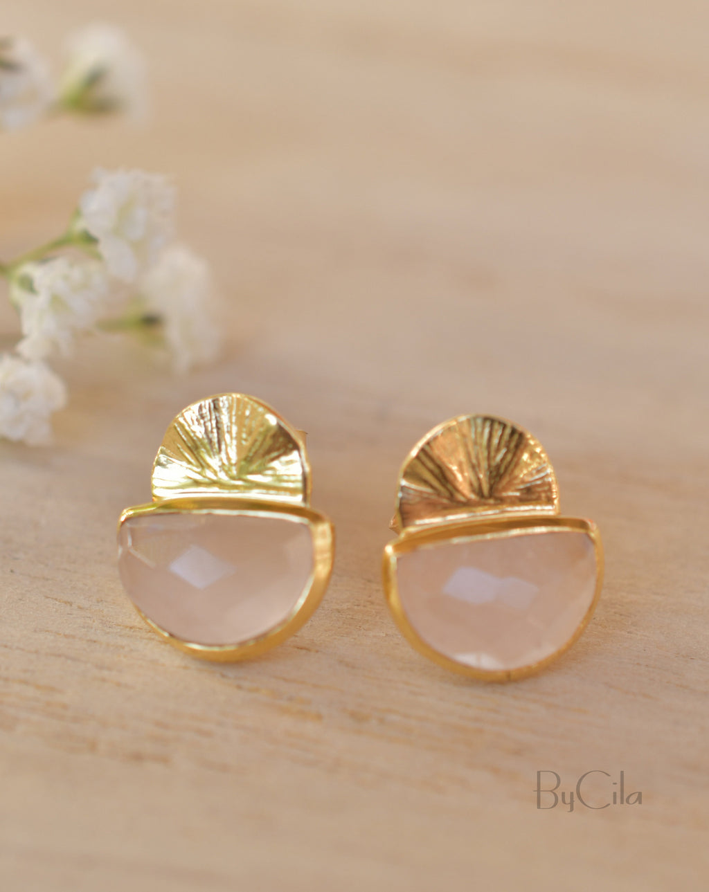 Rose Quartz Stud  Earrings*  Gold Plated 18k * Post * Gemstone * Statement * Everyday * handmade* Lightweight * bohemian * ByCila * BJE160