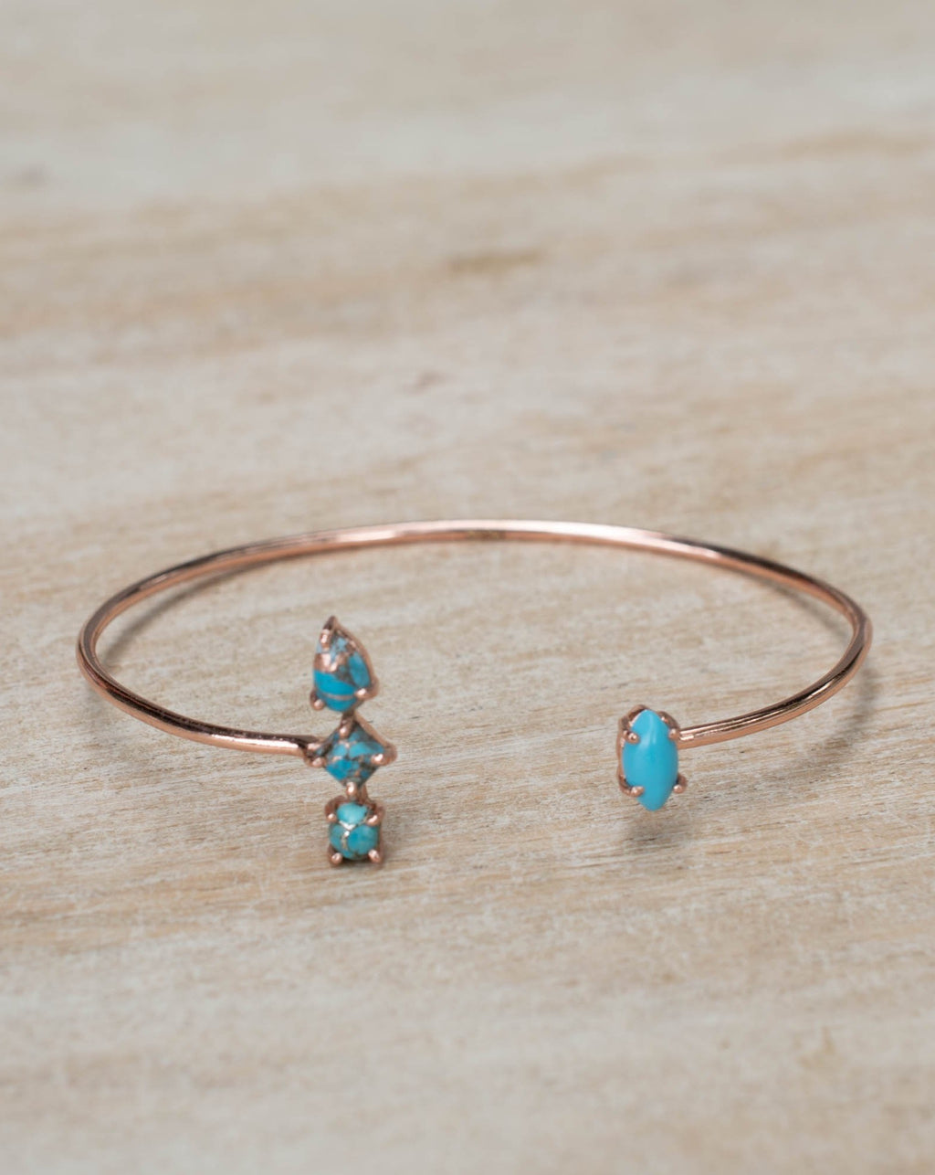 Copper Turquoise Bohemian Bangle Bracelet * Rose Gold Plated * Gemstone * Gypsy * Hippie *  Adjustable * Statement *  Stacking * BJB010C