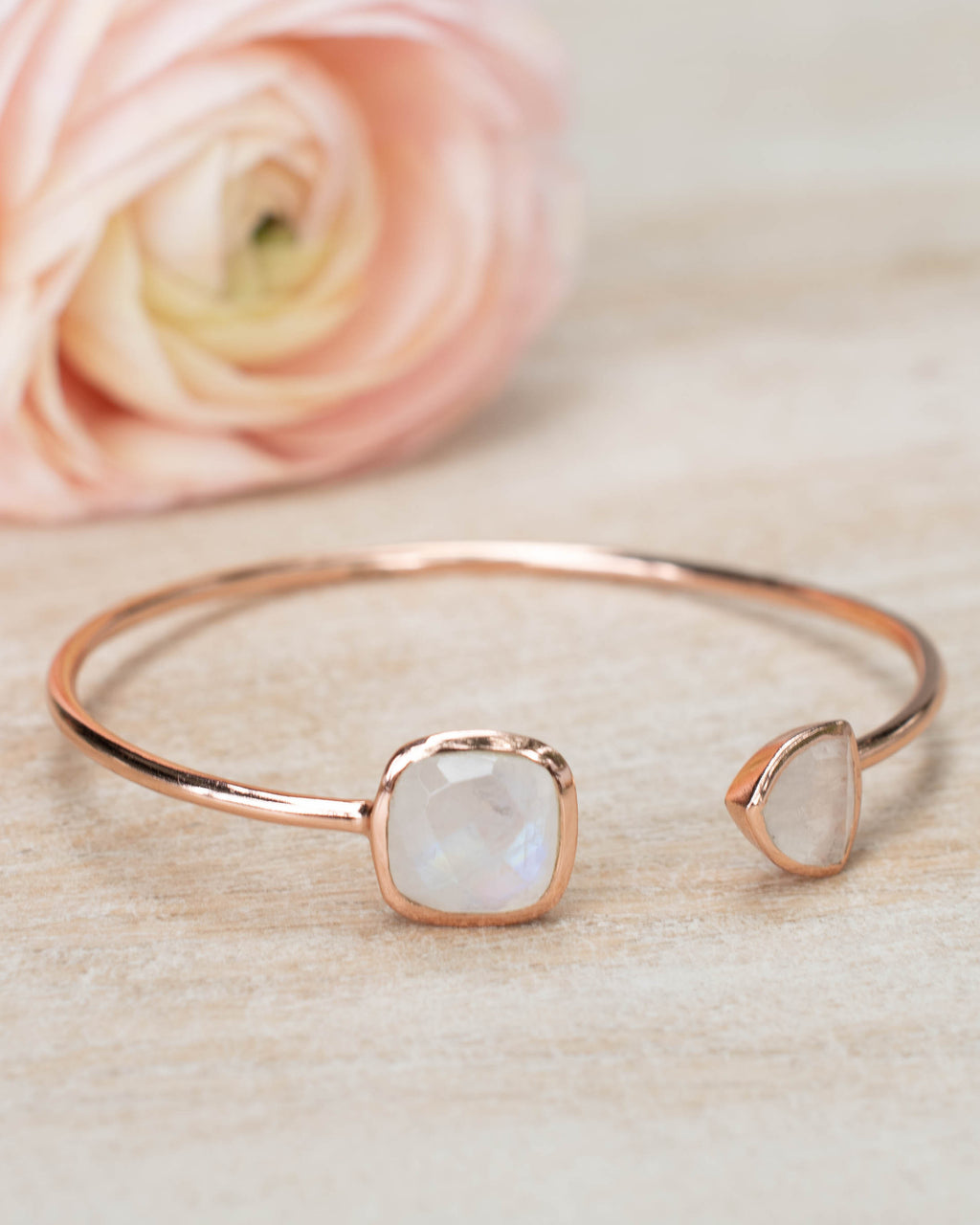 Moonstone Bangle Bracelet *Gold Plated 18k or Silver Plated or Rose Gold Plated* Gemstone * Gypsy * Adjustable * Statement * BJB002C