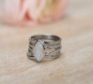Moonstone Silver Plated Ring *  Statement Ring * Gemstone Ring * Rainbow Moonstone * Silver Ring BJR132