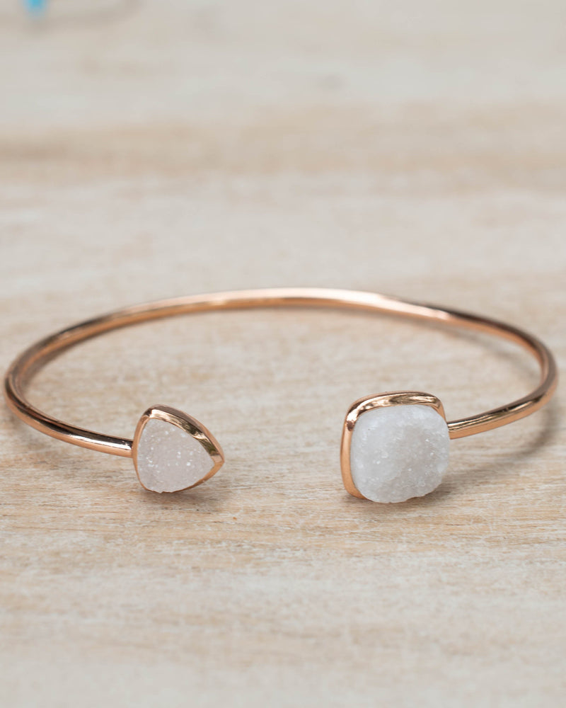 White Druzy Bohemian Bangle Bracelet *Gold Plated 18k or Silver Plated or Rose Gold Plated* Gemstone * Gypsy *Adjustable*Statement* *BJB007C