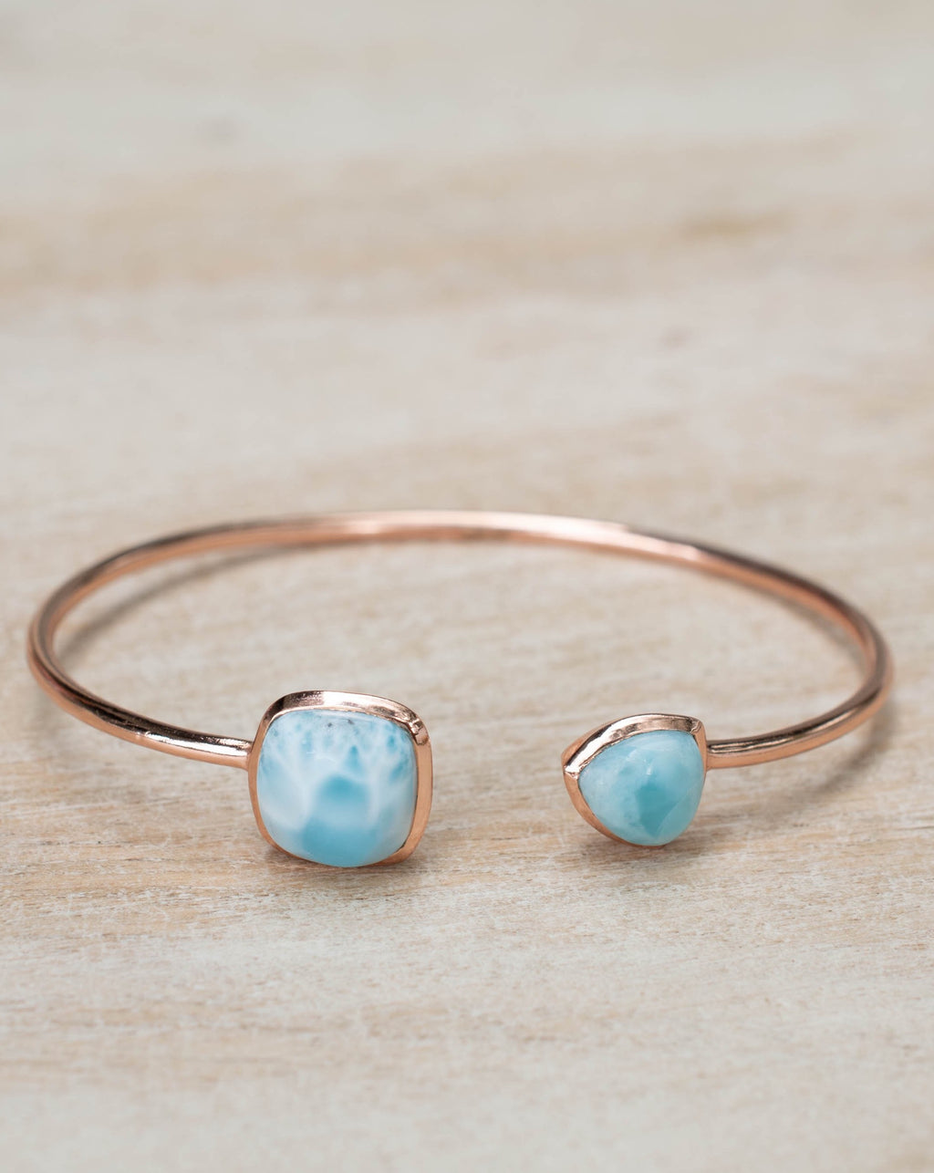 Larimar Bohemian Bangle Bracelet * Gold Plated 18k or Silver Plated or Rose Gold Plated * Gemstone * Gypsy * Hippie * Adjustable  * BJB005C