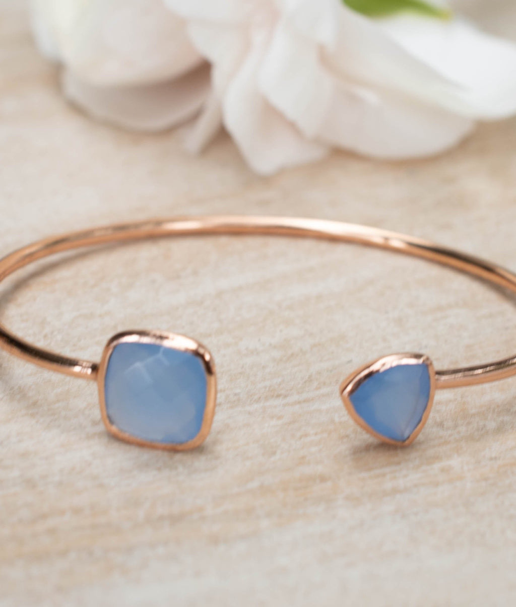 Blue Chalcedony Bangle Bracelet *Gold Plated 18k or Silver Plated or Rose Gold Plated* Gemstone * Gypsy * Adjustable * Statement * BJB009C