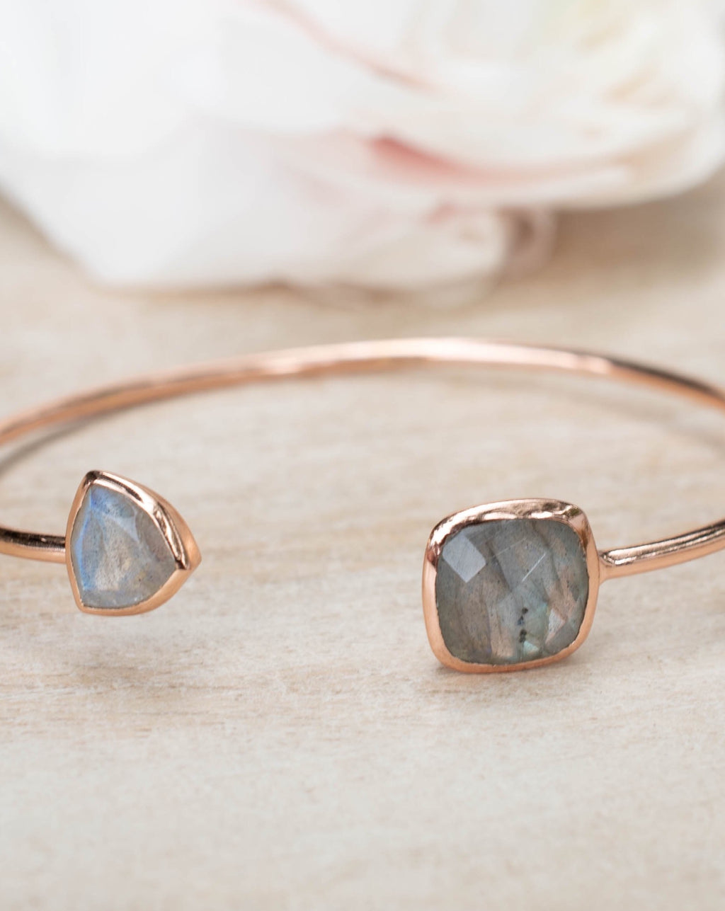 Labradorite Bangle Bracelet * Gold Plated 18k or Silver Plated or Rose Gold Plated* Gemstone *  Adjustable * Statement * Stacking * BJB001C
