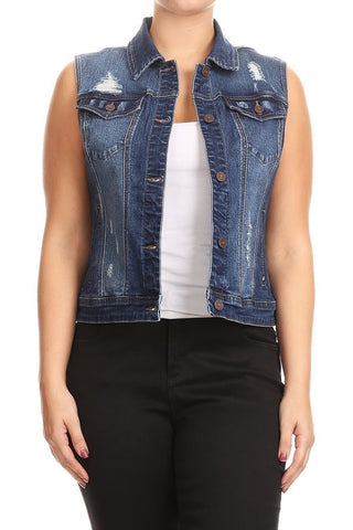 Hannah Distressed Curvy Denim Vest