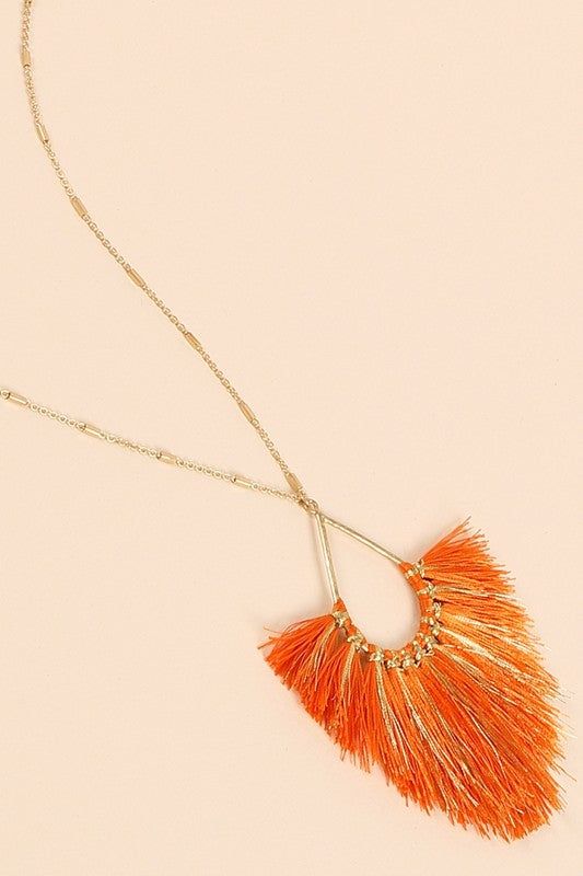 Metallic Tassel Necklace