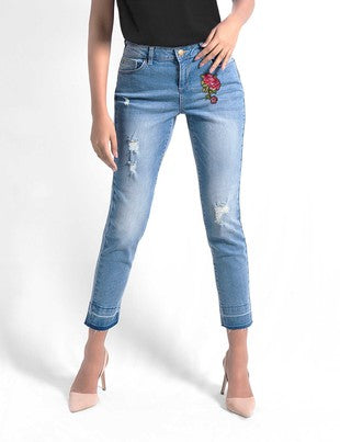Embroidered Light Skinny Jeans