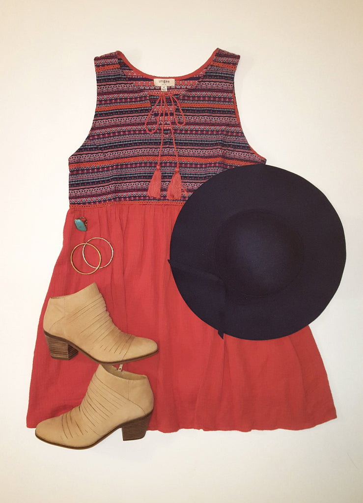 Embroidered Rust Babydoll Dress