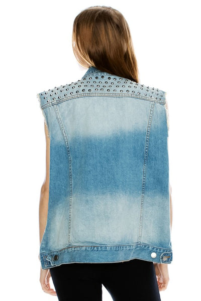 Karina Studded Denim Vest
