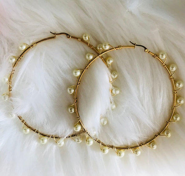 Beaded Pearl Hoop Earrings