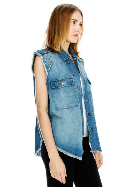 Lina Studded Denim Vest