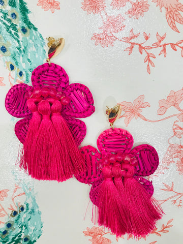 Fuschia Hand Woven Tassel Earrings