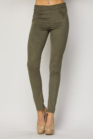 Olive Suede Pants