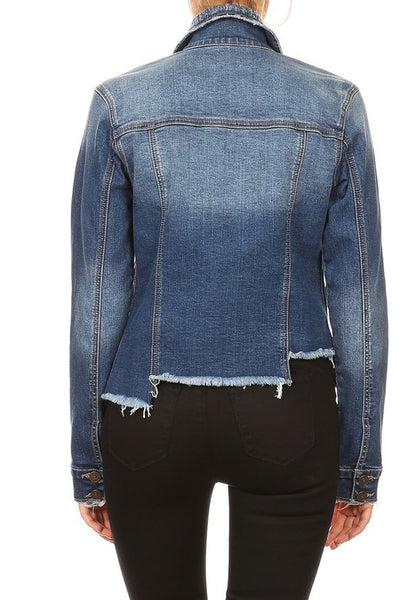 Zoe Denim Fitted Asymmetric Jacket
