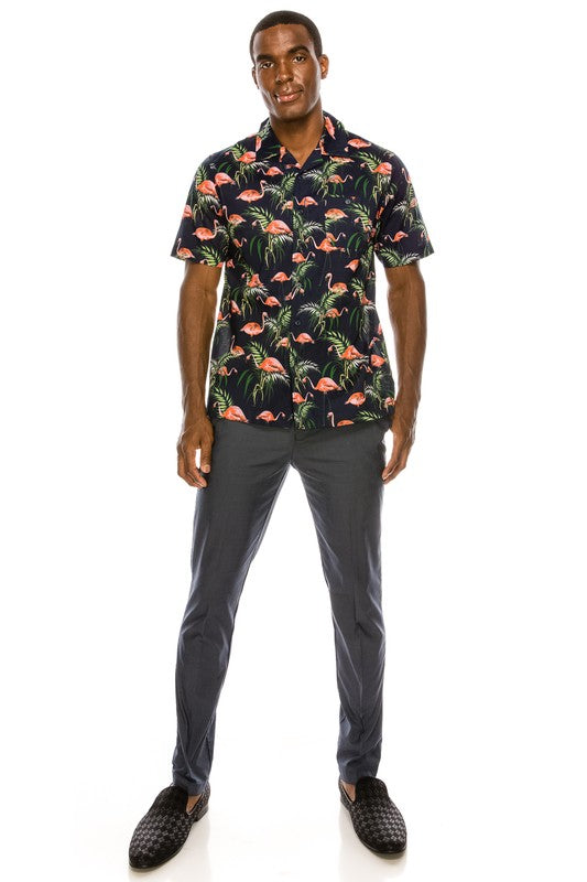 Men's Navy Flamingo Shirt