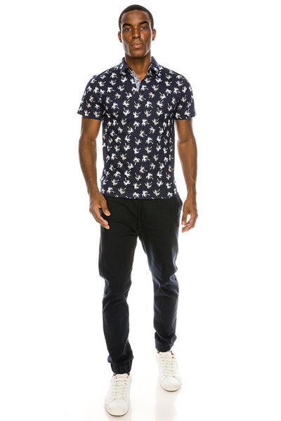 Men's Navy Palm Tree Polo