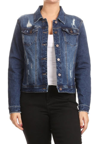Brooklyn Distressed Curvy Denim Jacket