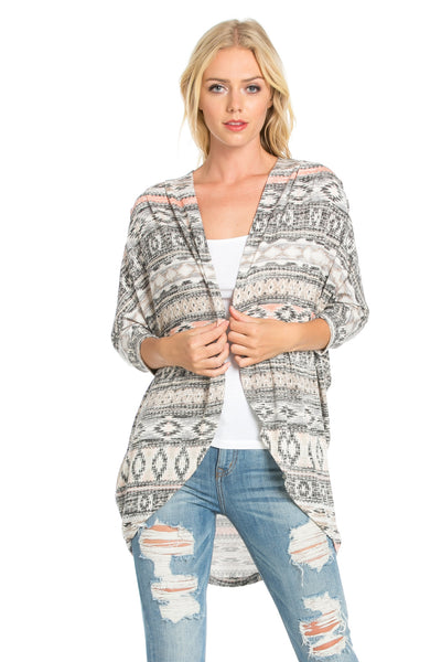 Grey Aztec Open Front Knit Cardigan