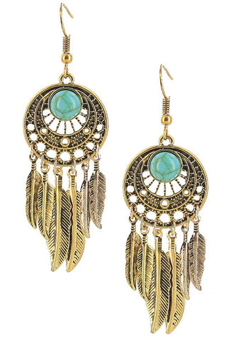 Turquoise Stone Feather Bohemian Earrings