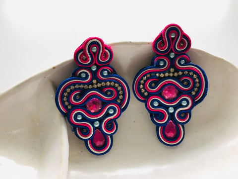 Embroidered Gem Earrings
