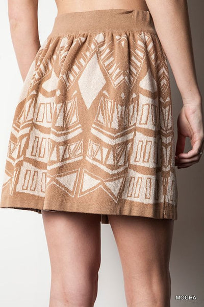 High Waist Printed Knit Circle Skirt