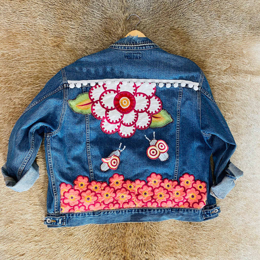 Custom Floral Denim Jacket