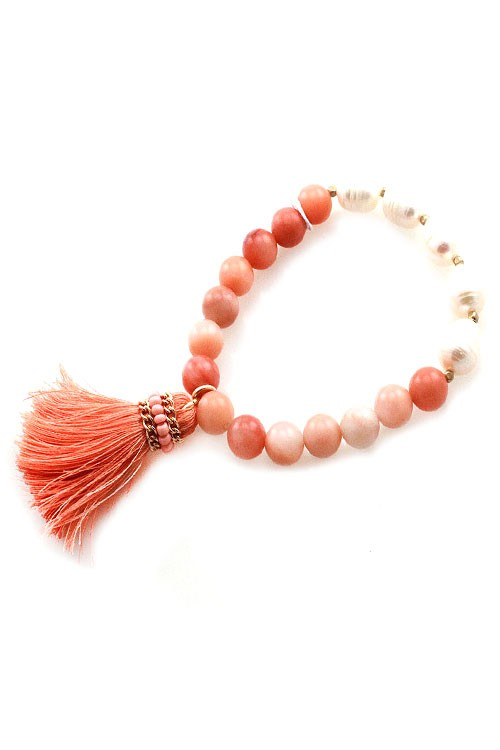 Beaded Tassel Stretch Bracelet