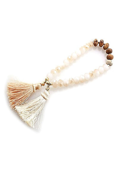 Crystal Bead w/ Tassel Stretch Bracelet