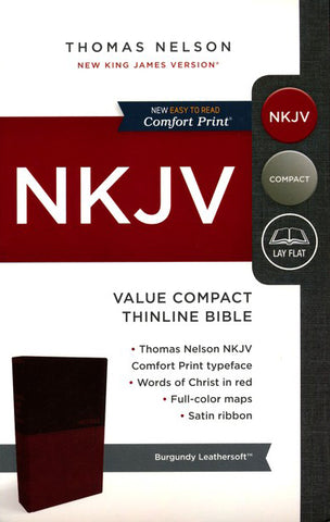 NKJV Value Thinline Bible (Compact, Leathersoft, Burgundy, Comfort Print)