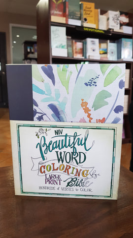 NIV Beautiful Word Coloring Bible Large Print (Hardcover, Cloth-over-Board, Navy)