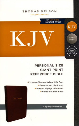 KJV Personal Size Giant Print Reference Bible (Leathersoft, Burgundy)