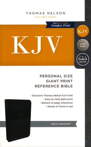 KJV Personal Size Giant Print Reference Bible (Leathersoft, Black)