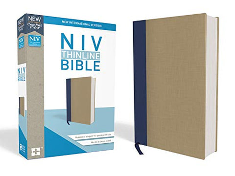 NIV Thinline Bible (Hardcover, Cloth-over-Board, Blue/Tan)