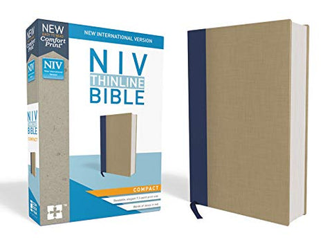 NIV Thinline Bible (Comfort Print, Compact, Hardcover, Cloth-over-Board, Blue/Tan)