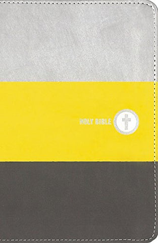 NIV Boys Backpack Bible (Compact, Leathersoft, Yellow/Charcoal)