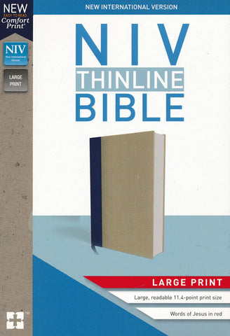 NIV Thinline Bible Large Print (Cloth-over-Board, Blue/Tan)