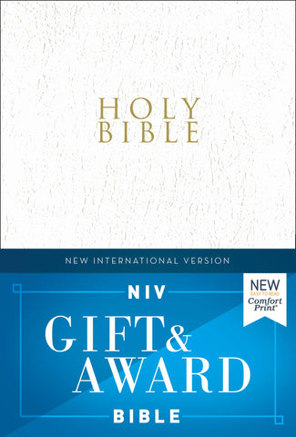 NIV, Gift & Award Bible - Comfort Print (Leather-Look, RLE, White)