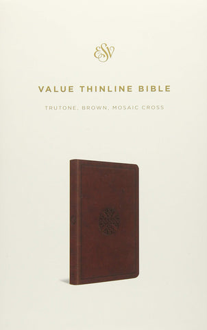 ESV Value Thinline Bible (Imitation Leather, TruTone, Brown, Mosaic Cross Design)