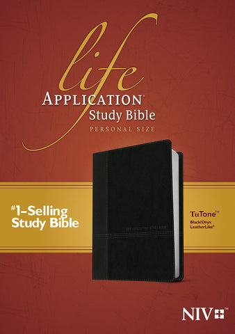 NIV Life Application Study Bible Personal Size 2nd Edition (LeatherLike, TuTone, Black/Onyx)