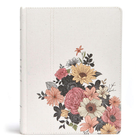 NKJV The Illustrator's Notetaking Bible (Floral Canvas over Board)
