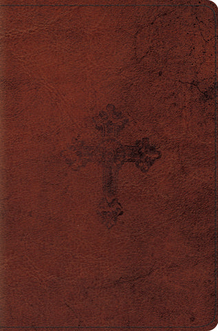ESV Compact Bible (Imitation Leather, TruTone, Walnut, Weathered Cross Design)