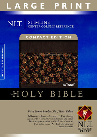 NLT Slimline Center Column Reference Bible Compact Edition (Large, Imitation Leather, Floral/Dark Brown)