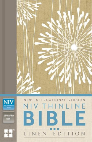 NIV Thinline Bible Linen Edition (Hardcover, Tan/White)