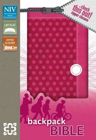 NIV Backpack Zipper Bible (Polka Pink)