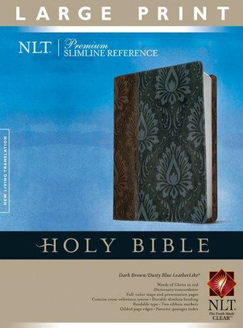 NLT Premium Slim Reference Bible Large Print (Dark Brown/Dusty Blue)