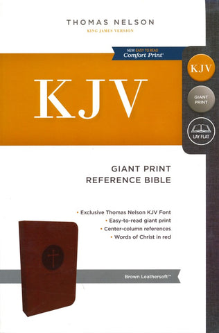 KJV Center-Column Giant Print Reference Bible (Leathersoft, Brown)