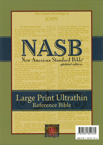 NASB Large Print Ultrathin Reference Bible (Genuine Leather Black)