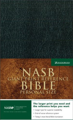NASB Giant Print Reference Bible (Imitation Leather, Personal Size, Black)